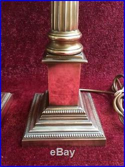 PAIR of LAURA ASHLEY LARGE Brass CORINTHIAN Column Table LAMPS