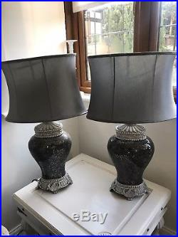 PAIR of Regency Large Table Lamp Silver Glass Mosaic Sparkle Base