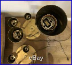 Pair (2) Large Rare Mid Century Modern Vintage Brass Waterfall Globe Table Lamps