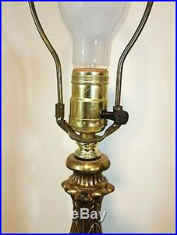 Pair Hollywood Regency Large 35 Table Lamps, Gold Marble Painted Glass Overlay