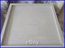 Pair Large Grey Contemporary French Bedside Lamp Tables Shabby Chic Wood