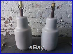 Pair Large Jane & Gordon Martz for Marshall Studios White Ceramic Table Lamps