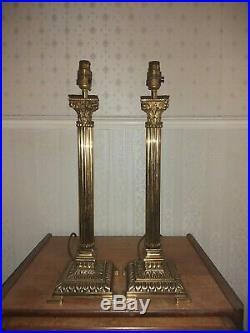 Pair Large Vintage Brass Antique Style Corinthian Column Table Lamps