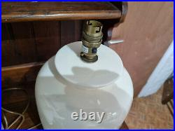 Pair Large Vintage Laura Ashley Off White/Pale Cream Ceramic Table Lamps