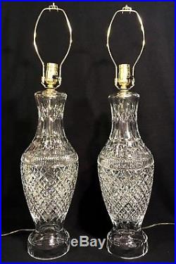Pair Large WATERFORD TRAMORE Cut Crystal TABLE LAMPS