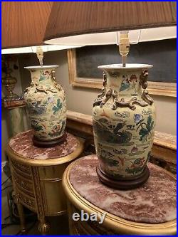 Pair Of Large Antique Vintage Chinoiserie Chinese Porcelain Table Lamps