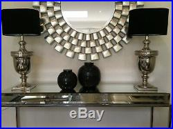 Pair Of Large Coach House Table Lamps Polished Nickel Trophy Style RRP £400