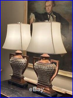 Pair Of Large R V Astley Table Lamps With Silk Pagoda Shades