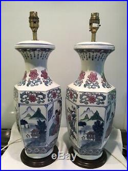 Pair Of Large Vintage Chinese, oriental Themed Porcelain Table Lamps