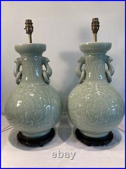 Pair Of Large Vintage Oriental Celedon Green Porcelain Table Lamps