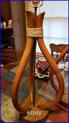 Pair Of Mid Century Large Bent Bamboo Table Lamps