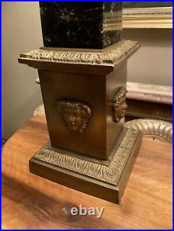 Pair Of Quality Large Vintage Marble & Bronze Classical Obelisk Table Lamps 71cm