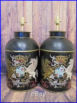 Pair Of Tea Tin Caddy Large Coat Of Arms Black Pair Of Table Lamps