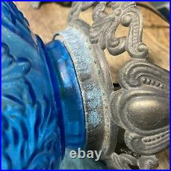 Pair Of Vintage MID Century Large Blue Glass Lamps Embossed Grapes Leaves