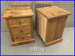 Pair Quality Large Indigo Pine Bedside Cabinets Lamp Tables Sutton