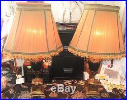 Pair Stunning French Black Urn Body & High Gilt Large Lamps & Chiffon Shades