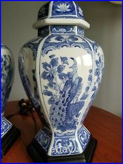 Pair Vintage Asian Chinese Ginger Jar Large Table Lamps Peacock Bird Blue white