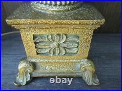 Pair Vintage Large Bronzed / Copper Floral Acanthus Urn Table/Bedside Lamp Bases