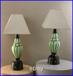 Pair Vintage Mid Century Danish Modern Retro Wire Eiffel Glass Lamps Eames Era