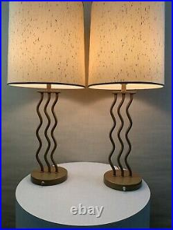 Pair Vintage Mid Century Danish Modern Wave Zigzag Memphis Circa 1980s Lamps