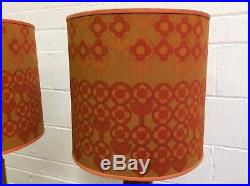 Pair Vintage Retro Large Table Lamps with Shades Midcentury 1960s/ 70s