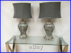 Pair of Grey Large Regency Table Lamps 79cm height