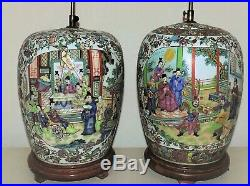 Pair of LARGE Chinese Table Lamps Ginger Jar Famille Rose Medallion Asian