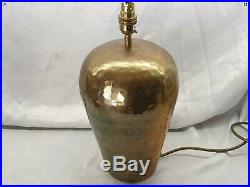 Pair of Large Hammered Brass Table Lamps with Shades