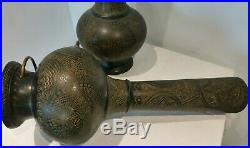 Pair of Large Indian / Eastern / Morroccan Bronzed / Brass Table Lamps WORKING