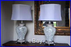 Pair of Large Table Lamps 79cm Silver Sparkle Mosaic Base White Fabric Shade