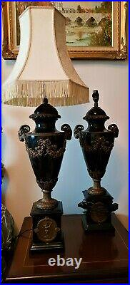 Pair of Large Urn/Vase Shape French Style Gilt and Ceramic Table Lamps