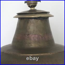 Pair of Large Vintage Habitat Indian Hammered Brass Table Lamps