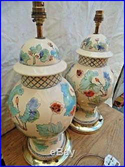 Pair of Vintage Large Chinese Style Porcelain Table Lamps -Poppy Design