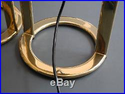 Pair of large golden postmodern 80s metal table lamps
