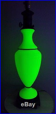 Paul Hanson table lamp Opaline vaseline Glass brass Lamp 32 large MCM stunning