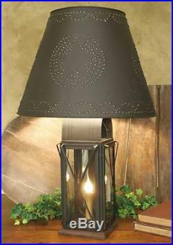 Primitive Large Rustic Brown 4 Way Milkhouse Metal Table Lamp Star Shade Farm