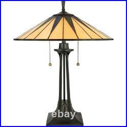 Quoizel 2 Light Gotham Tiffany Table Lamp in Vintage Bronze TF6668VB