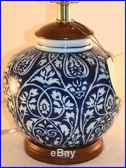 Ralph Lauren Ginger Jar Blue & White Floral Damask Ceramic Table Lamp