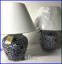 Ralph Lauren Large Blue Floral Vine Traditional Porcelain Table Lamps Set of 2