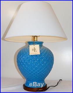 Ralph Lauren Large Blue Pineapple Porcelain Ceramic Wood Table Lamps Set