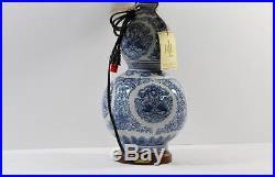 Ralph Lauren Large Ceramic Table Lamp Blue Koi Fish Asian inspired New