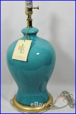 Ralph Lauren Turquoise Blue Crackle Porcelain Ginger Jar Large Table Lamp New