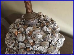 Rare Large Antique Italian Porcelain Cherubs Putti Garlands Fruits Table Lamp
