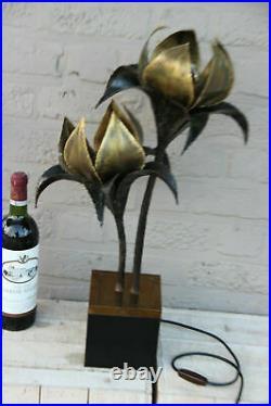 Rare Large Maison jansen palm tree leaf Table lamp mid Hollywood regency 1970s