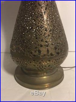 Rare large Antique Damascus Persian Table Lamp Pierced Brass Moorish Middle East