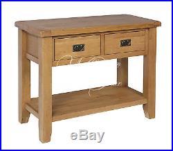 Rustic Oak Large Lamp Hall Console Table Chunky Shrewsbury Range