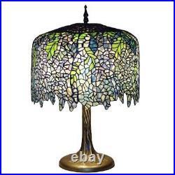 Serena D'italia 27 Bronze Table Lamp Tiffany Wisteria Tree Trunk Metal Base