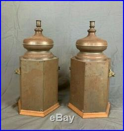 Set of Three Large Vintage Toleware Hexagonal Table Lamps