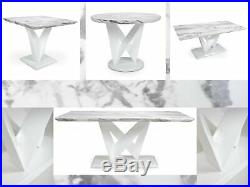 Shankar Saturn Grey & White Gloss Marble Effect Tables Dining Coffee Lamp