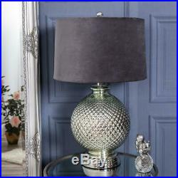 Silver Large Table Lamp Metal Glass Contemporary Modern Hallway Living Bedroom